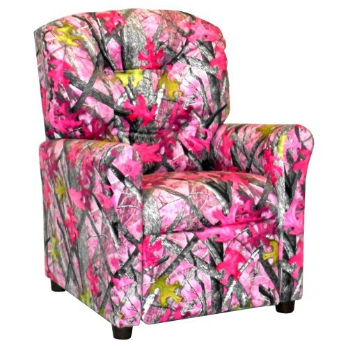 Brazil Furniture 4-Button Back Child Recliner - Sassy Camo Pink