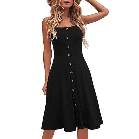 Women's Casual Beach Summer Dresses Solid Cotton Flattering A-Line Spaghetti Strap Button Down Midi Sundress Flattering A-line Dress