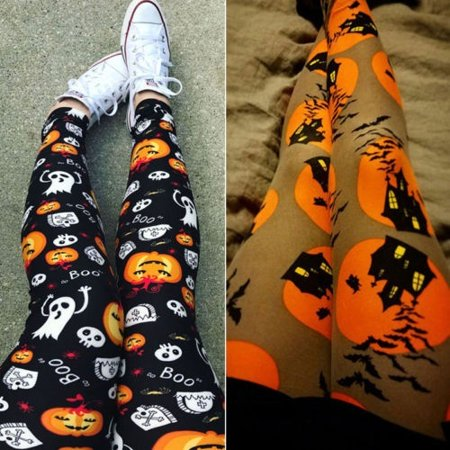Women Halloween Gym Yoga Workout Leggings Push-Up High Waist Sports Capris (Halloween Leggings)