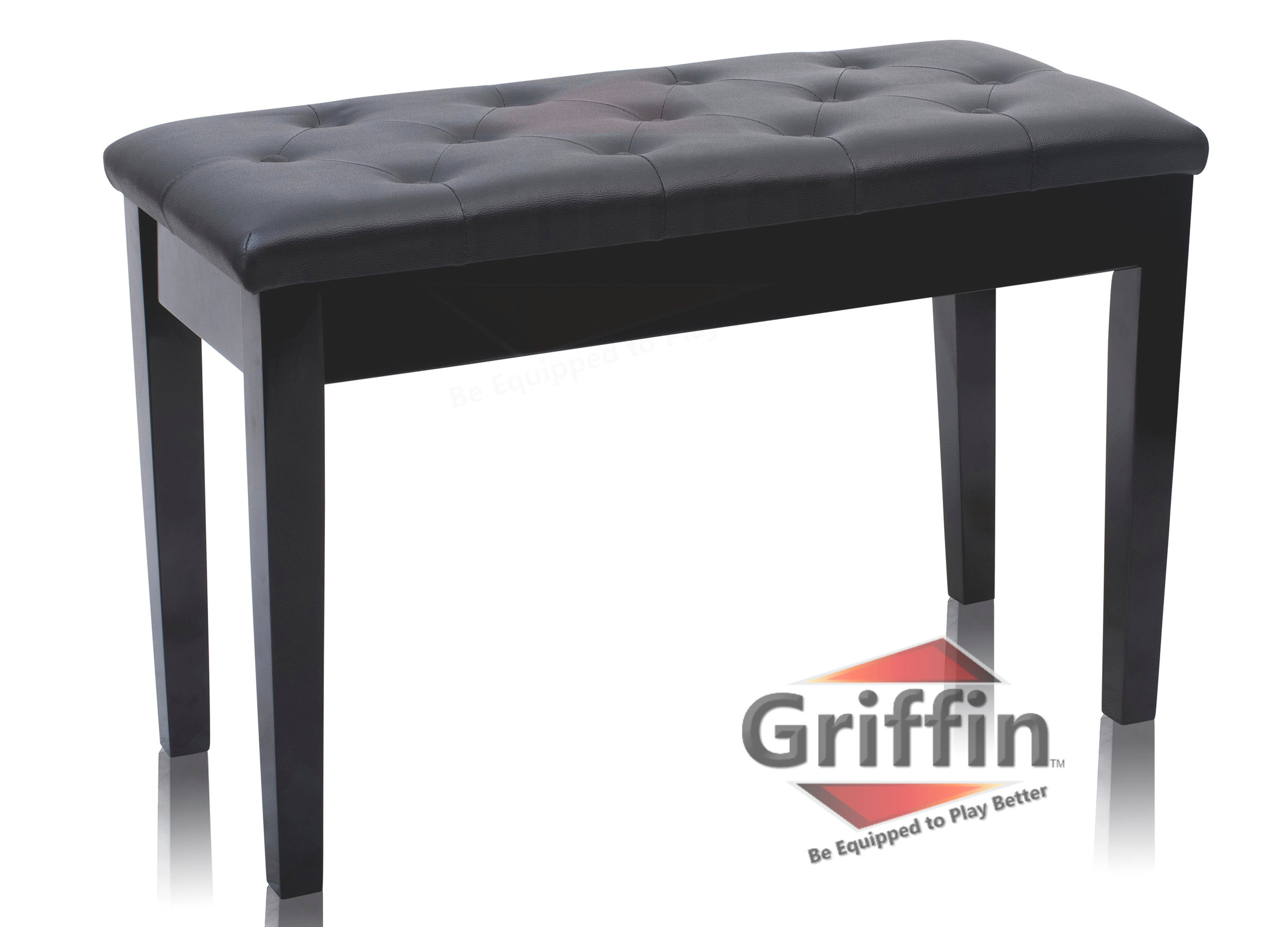 Premium Antique Black Piano Bench By Griffin � Solid Wood Frame & Luxurious, Comfortable Leather Padded Duet... by Griffin