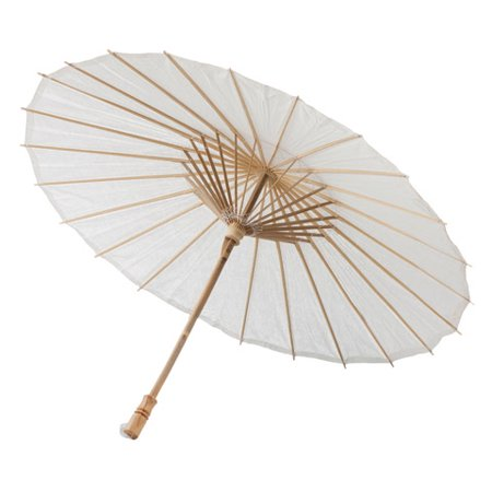 Victoria Lynn Parasol - Natural White Paper - Bamboo Handle - 32 inches - Parasol White