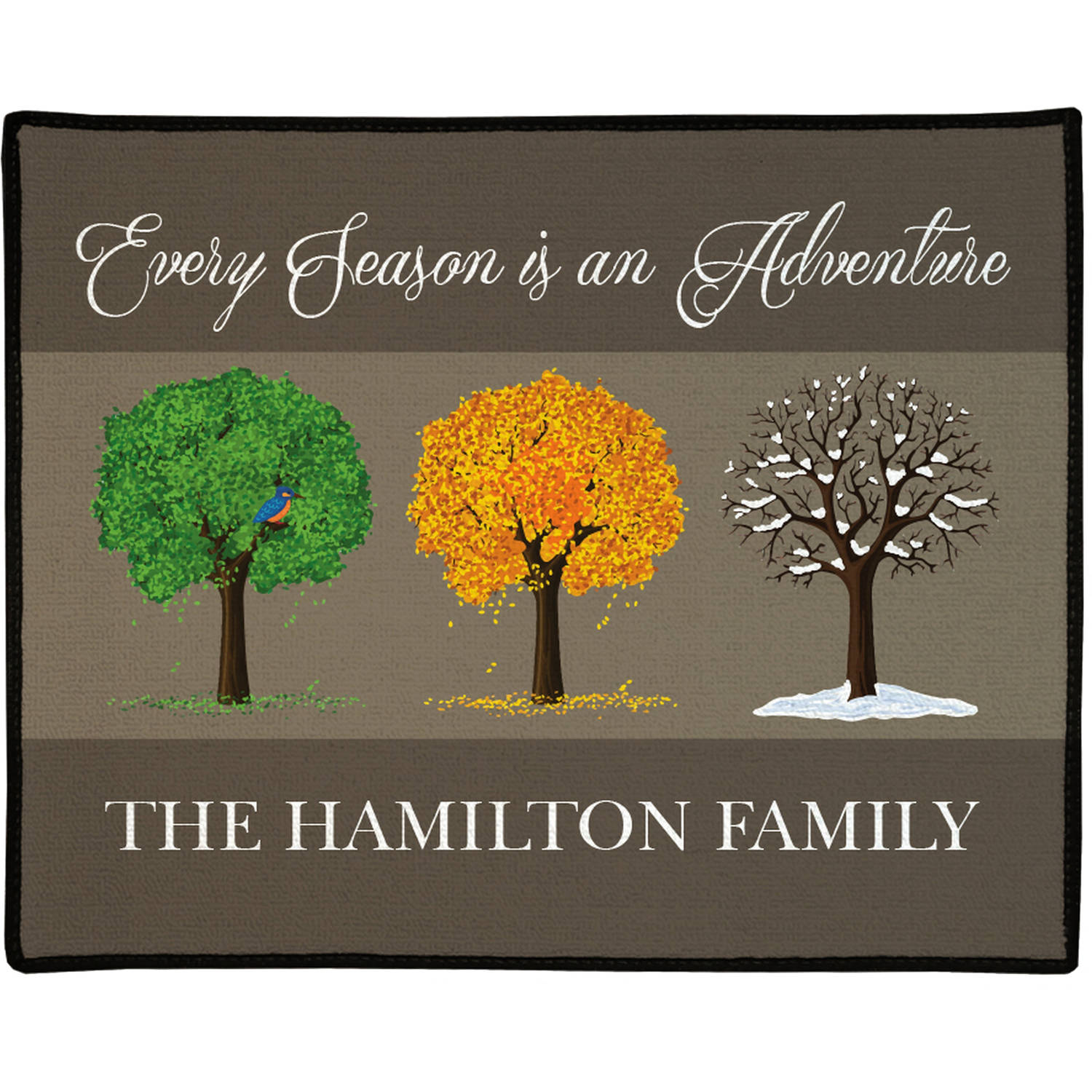 "Every Season is an Adventure Personalized Doormat, 19.5"" x 15.5"""