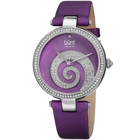 Women's Quartz Diamond Crystal Leather Purple Strap