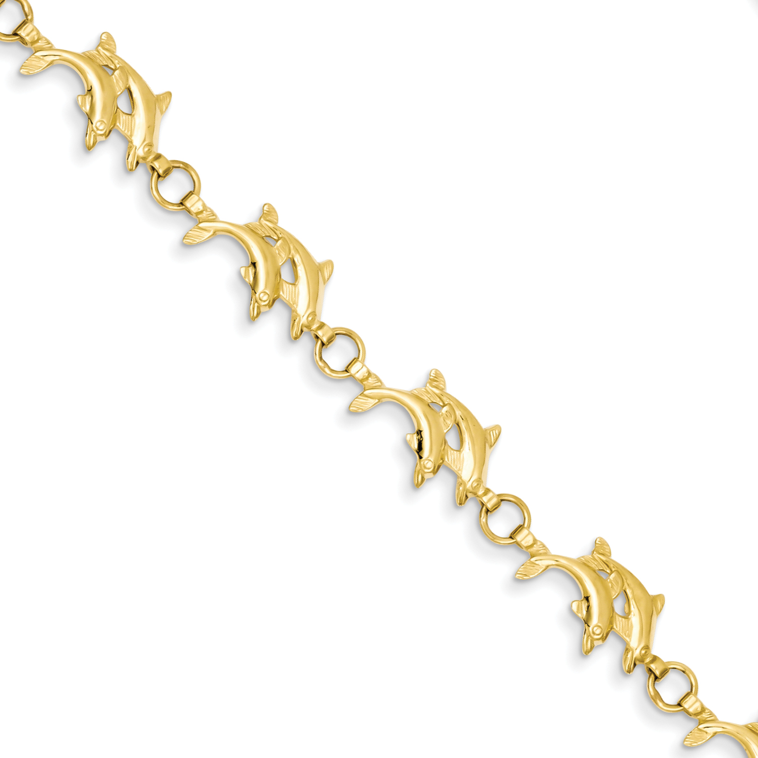 Roy Rose Jewelry 14K Yellow Gold Solid Polished Open-Back Double Dolphins Bracelet ~ Length 8'' inches by