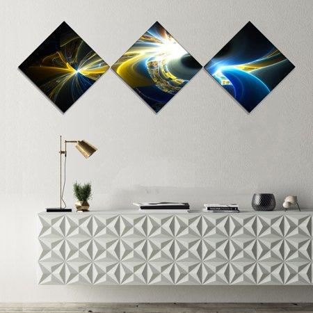 0f600f165aa DESIGN ART Designart  Glowing Blue Yellow Plasma  Abstract Wall Art Canvas  - 3 Diamond Canvas Prints - Walmart.com