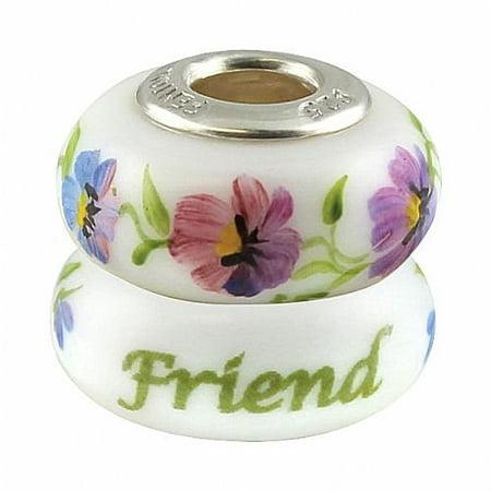 Heartstrings Bead - Friend - Handmade USA Made Glass Handpainted 0B008HQ-FENT, Jewelry By Fenton