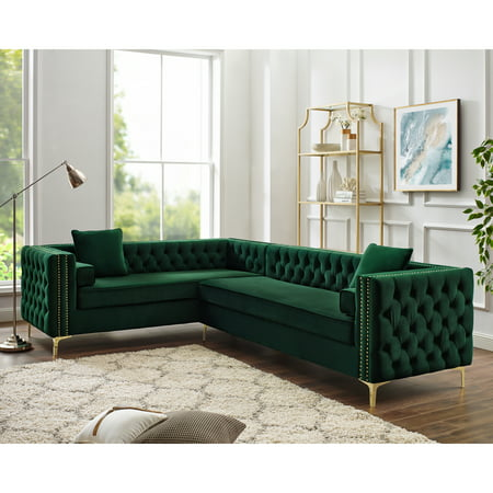 Craig Hunter Green Velvet Corner Sectional Sofa - 120\