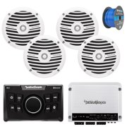 """Rockford Fosgate PMX-0 Ultra Compact Bluetooth Marine Boat Digital Media Receiver Bundle Combo With 4x RM0652 6.5"""" Inch Audio White Speakers + 400 Watt Amplifier + 50Ft Wire"""