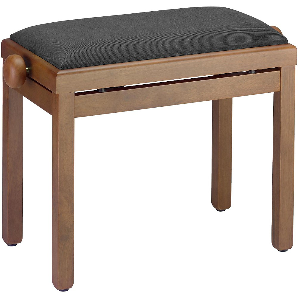 Musician's Gear PB39 Adjustable-Height Piano Bench Black Velvet Top Walnut Matte Finish