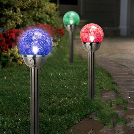 1Pcs Stainless Steel Solar Crackle Glass Ball Landscape Lights Color Changing LED ()