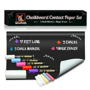 Woodsam Extra Large Chalkboard Contact Paper Roll - 17.3x196.9 (17 Feet) - 5 Chalks Markers and 5 Chalks Included - Blackboard Wall Decal Vinyl Wallpaper - Wall Stickers
