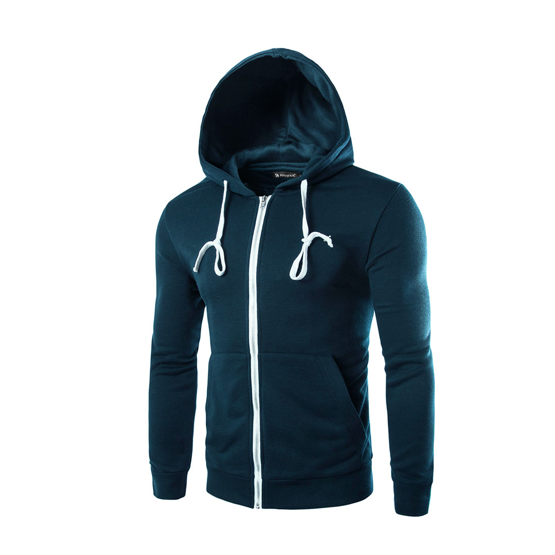 Unique Bargains Men Long Sleeves Zip Fastening Fashion Drawstring Hoodies Navy Blue L