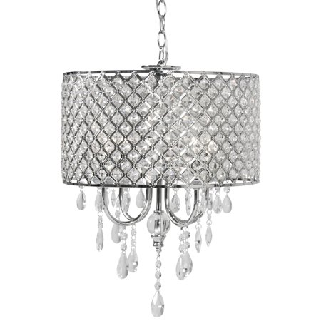 Best Choice Products Hanging 4-Light Crystal Beaded Glass Chandelier Pendant Ceiling Lamp Fixture for Foyer, Dining Room, Restaurant, Hotel, Silver ()