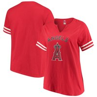 Women's Majestic Red Los Angeles Angels Decisive Moment V-Notch T-Shirt