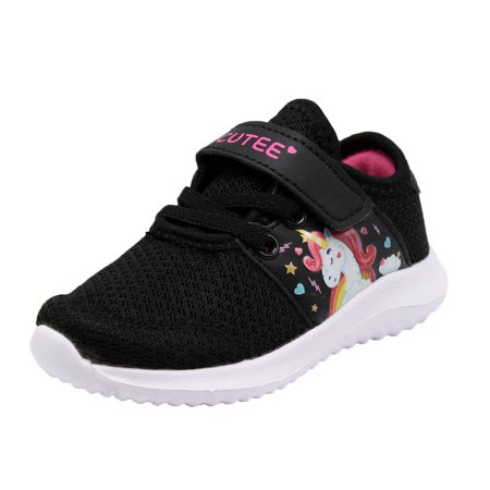 Cutee Girls Toddler 3945 Velcro Strap Casual Fashion Unicorn Sneaker - (5 M US Toddler, Black Fuchsia) - Pink Toms Toddler