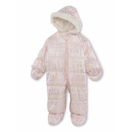 Carters Infant Girls Pink Nordic Print Snowsuit Baby Pram Snow Suit