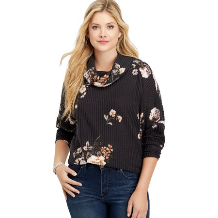 Floral Lace Up Back Cowl Neck Pullover Black Lace Cowl
