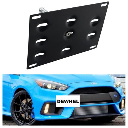 DEWHEL Front Bumper Tow Hook License Plate Mount Bracket Holder Bolt On Relocation Kit No Drill Hole For 16-Up Ford Focus RS