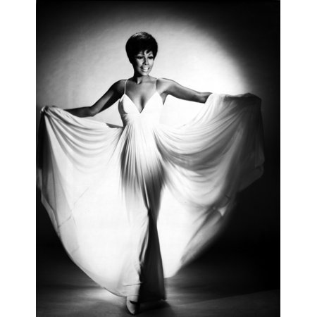 Diahann Carroll Portrait in White Wide Dress Photo