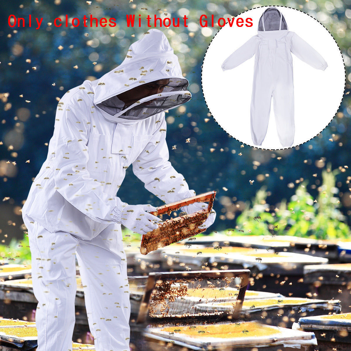 Zimtown Thickened Beekeeping Coverall Suit Veil Bee Keeping Hat Pull Over Full Body