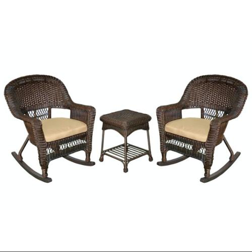 3-Piece Espresso Wicker Patio Rocker Chairs & Table Furniture Set - Tan Cushions