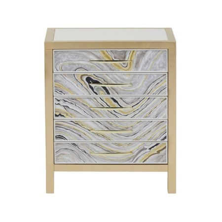 Home Fare Modern Handpainted Accent Chest in White and Gold Swirl - image 6 de 6