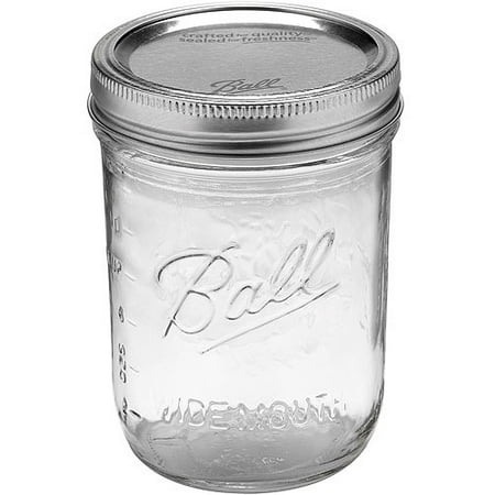 Ball Glass Mason Jar w/ Lid & Band, Wide Mouth, 16 Ounce, 12 Count (16 Oz Pint)