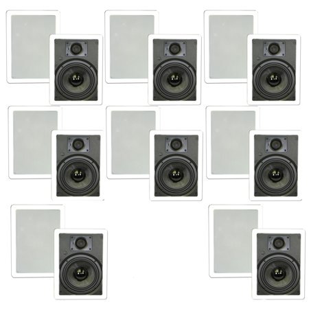 """Theater Solutions TSS6W In Wall 6.5"""" Speakers Surround Sound Home Theater Deluxe 8 Pair Pack 8TSS6W by"""