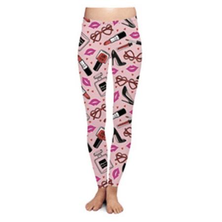 DM Merchandising Two Left Feet Lovely Valentine Leggings (Small/Medium, French Kiss Lipstick High -