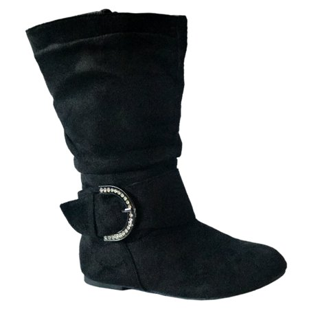 New Girls Kids Buckle Slouch Round Toe Midcalf Winter Shoes Leather/Suede Boots (Toddler) Black, Bel-66, 4