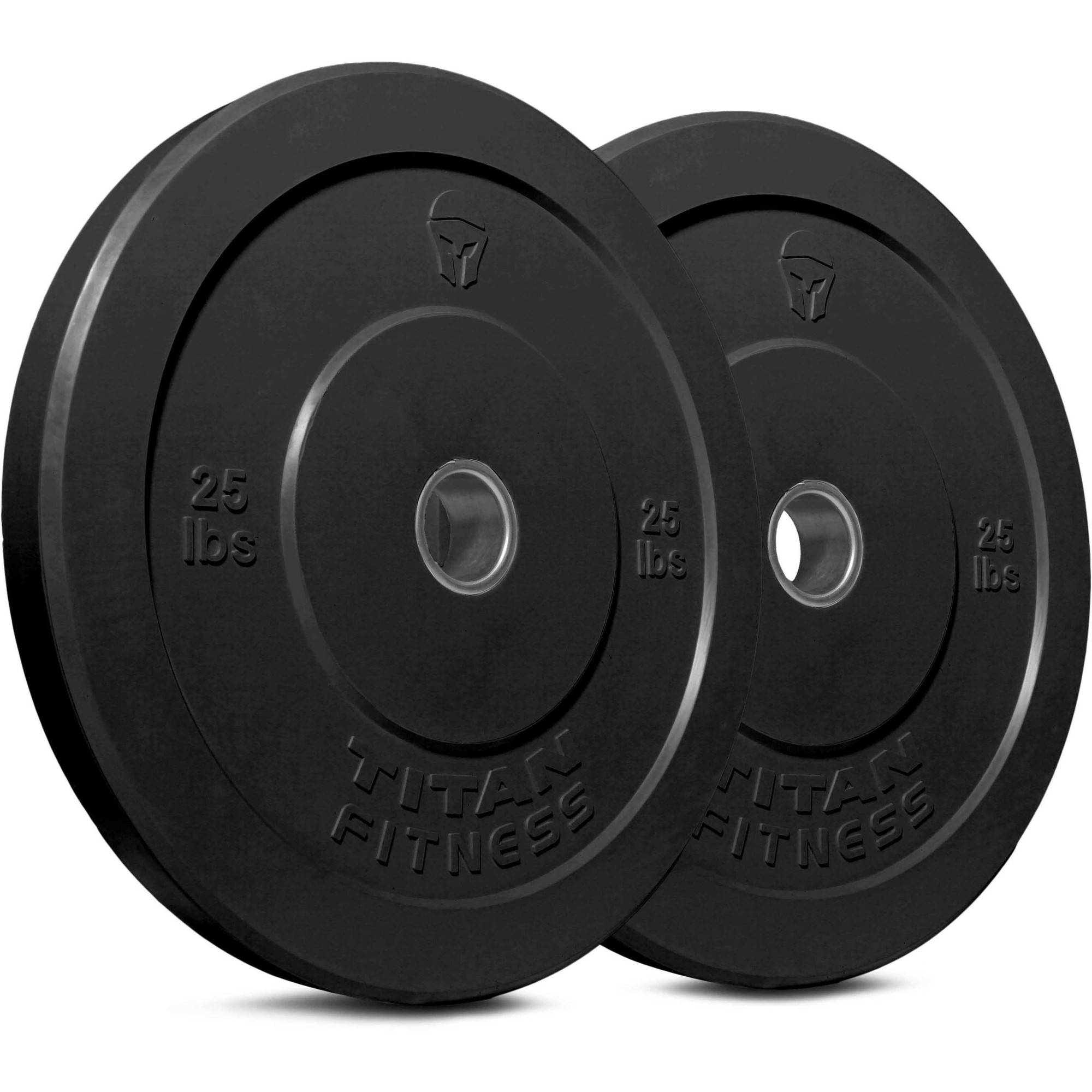 Titan Fitness Pair of 25 lb Olympic Bumper Plate Black Benchpress for Strength Training