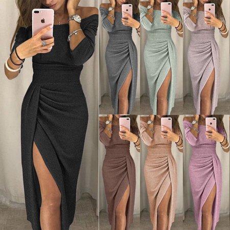aee97cdddfd Hirigin - Women Summer Boho Long Maxi Dress Cocktail Party Dress Beach  Dress Sundress Grey Size M - Walmart.com