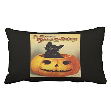 WinHome A Merry Halloween Vintage Black Cat In Pumpkin Throw Pillow Covers Cushion Cover Case 20X30 Inches Pillowcases Two Side