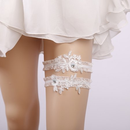 2PCS Bridal Garter, Lace Elegant Elastic Rhinestone Pearl Decor Leg Ring for Women Bridesmaid Wedding Prom Cosplay Party