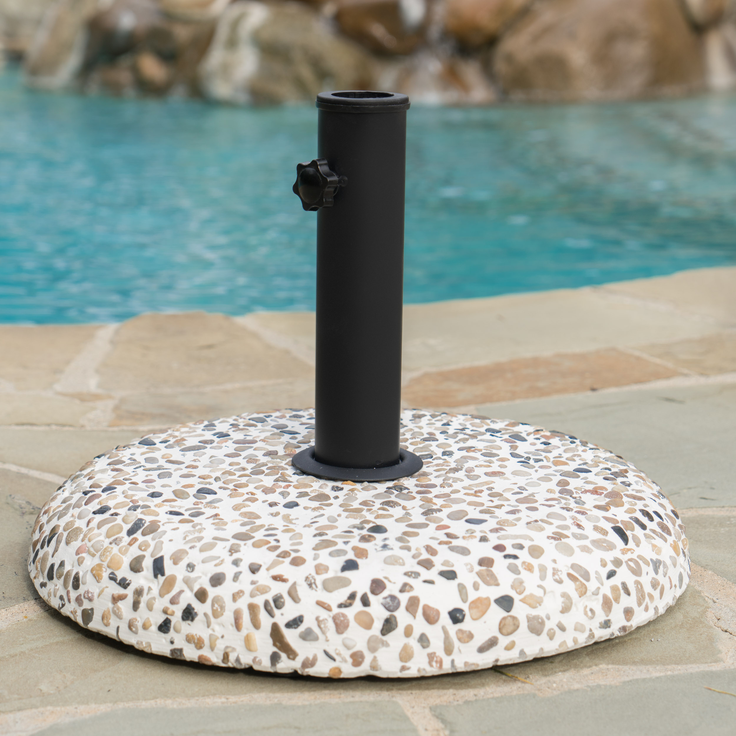 Negev Outdoor Concrete and Black Steel Umbrella Base, Colorful Stone