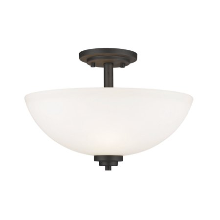 - Semi Flush 3 Light With Bronze Finish Steel Material Medium Base Bulb 16 inch 300 Watts