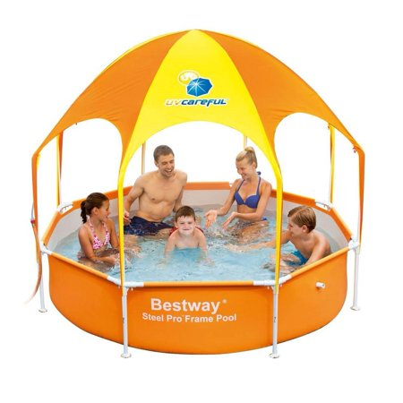 Bestway 8ft x 20in Splash in Shade Kids Spray Play Swimming Pool with UV (Best Way To Paint Cabinets Spray Or Roll)