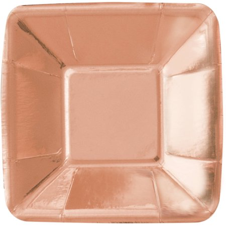 Square Paper Appetizer Plates, 5 in, Foil Rose Gold, 8ct - Paper Square Plates