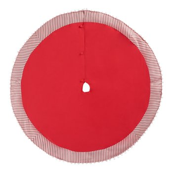 Holiday Time Red Christmas Tree Skirt with Red & White Striped Border, 56