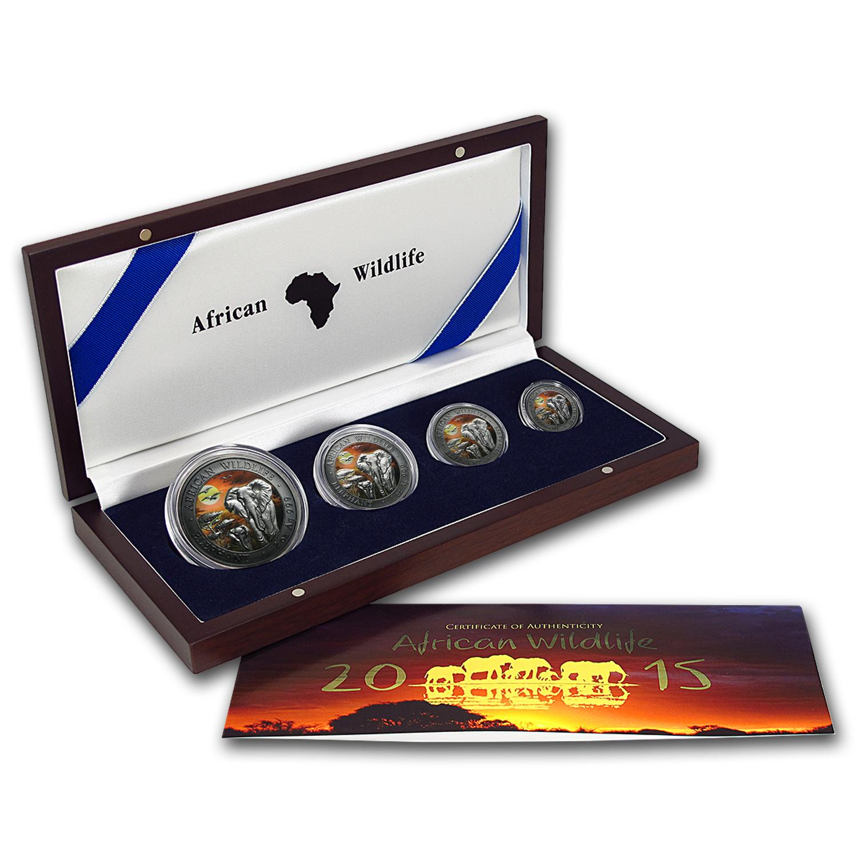2015 Somalia 4-Coin 3.75 oz Silver Elephant Set Sunset (Colored)