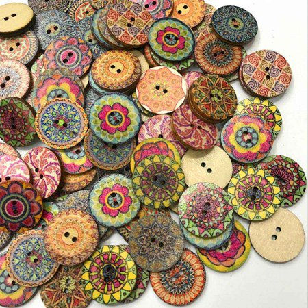 Boyijia 10pcs/Bag Round Assorted Floral Printed Wooden Decorative Buttons  for DIY Sewing Crafts Color Random