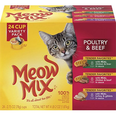 Meow Mix Tender Favorites Poultry   Beef Wet Cat Food Variety Pack  2 75 Ounce Cups  Pack Of 24