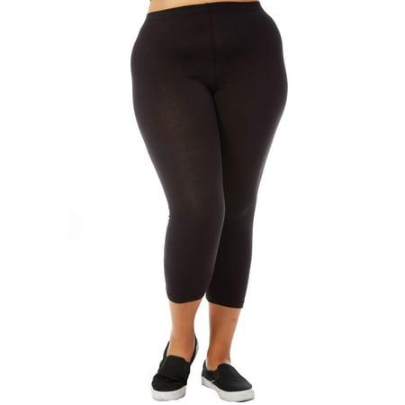 715e0742573 womens ladies plus size basic plain active capri leggings xb4001-3xl-black