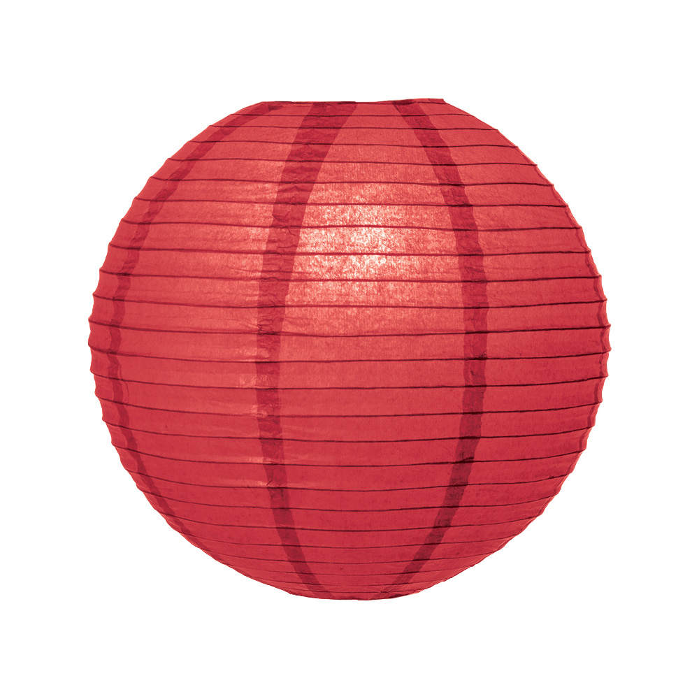 Luna Bazaar Premium Paper Lantern, Clip-On Lamp Shade (10-Inch, Parallel Style Ribbed, Cinnabar Red) - Chinese/Japanese Hanging Decoration - For Parties, Weddings, and Homes