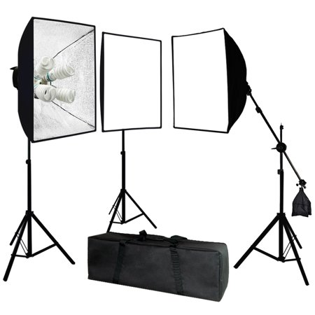 Head Studio Kit (Loadstone Studio Photo Video Studio 2400 Watt Softbox Continuous Light Kit with Overhead Head Light Boom Kit, , WMLS2072 )