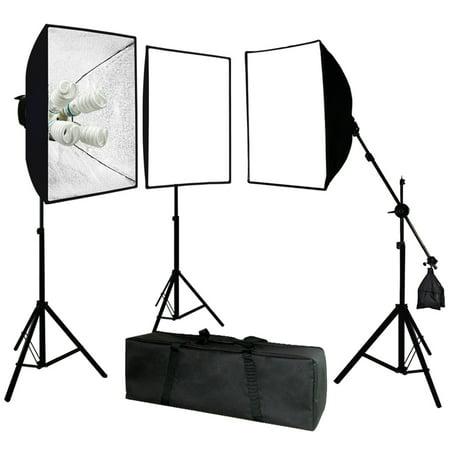 Single Softbox Kit - Limo Studio Photo Video Studio 2400 Watt Softbox Continuous Light Kit with Overhead Head Light Boom Kit, LIWA11