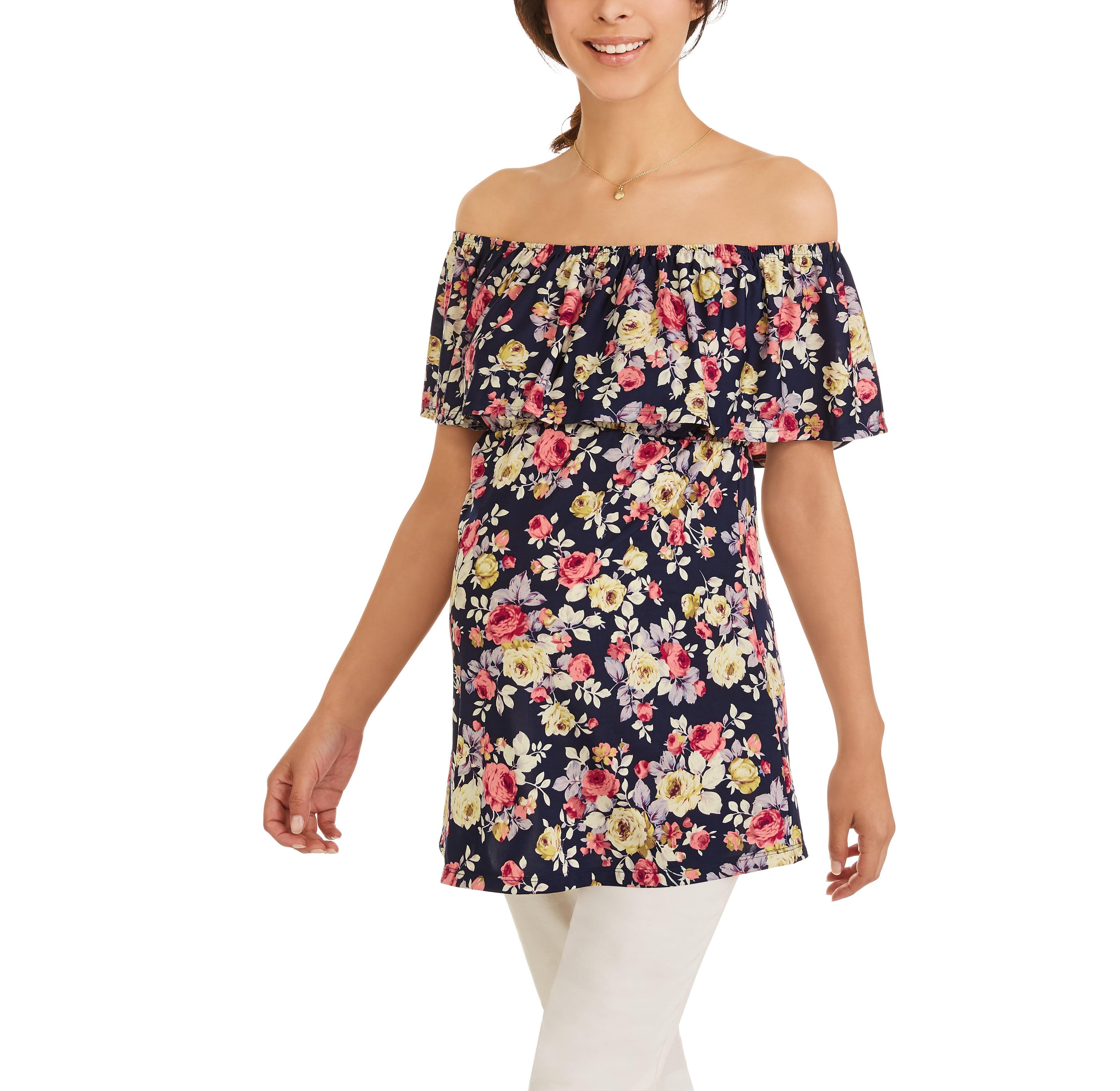 Planet Motherhood Maternity Short Sleeve Off Shoulder Floral Top