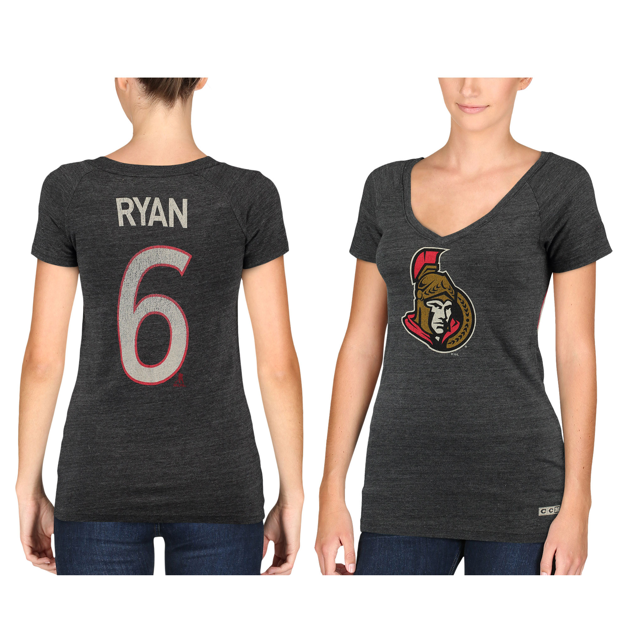 CCM Bobby Ryan Ottawa Senators Women's Name & Number Tri-Blend V-Neck T-Shirt - Black