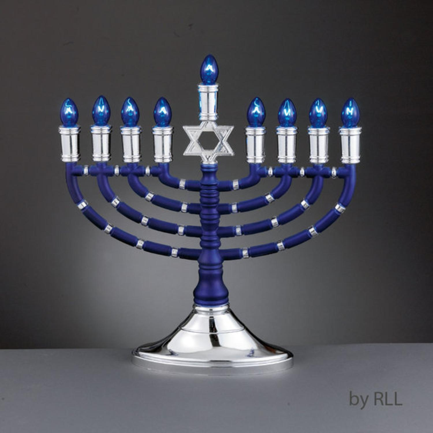 "14""  Elegant Blue and Silver Traditional Style Electric Menorah with Blue Bulbs"