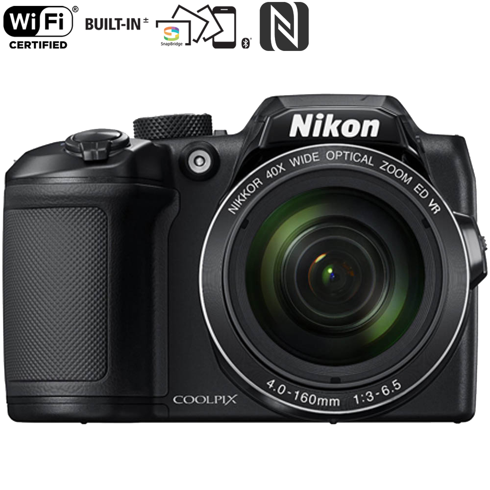 Nikon COOLPIX B500 16MP 40x Optical Zoom Digital Camera with wifi - Black  (Certified Refurbished)